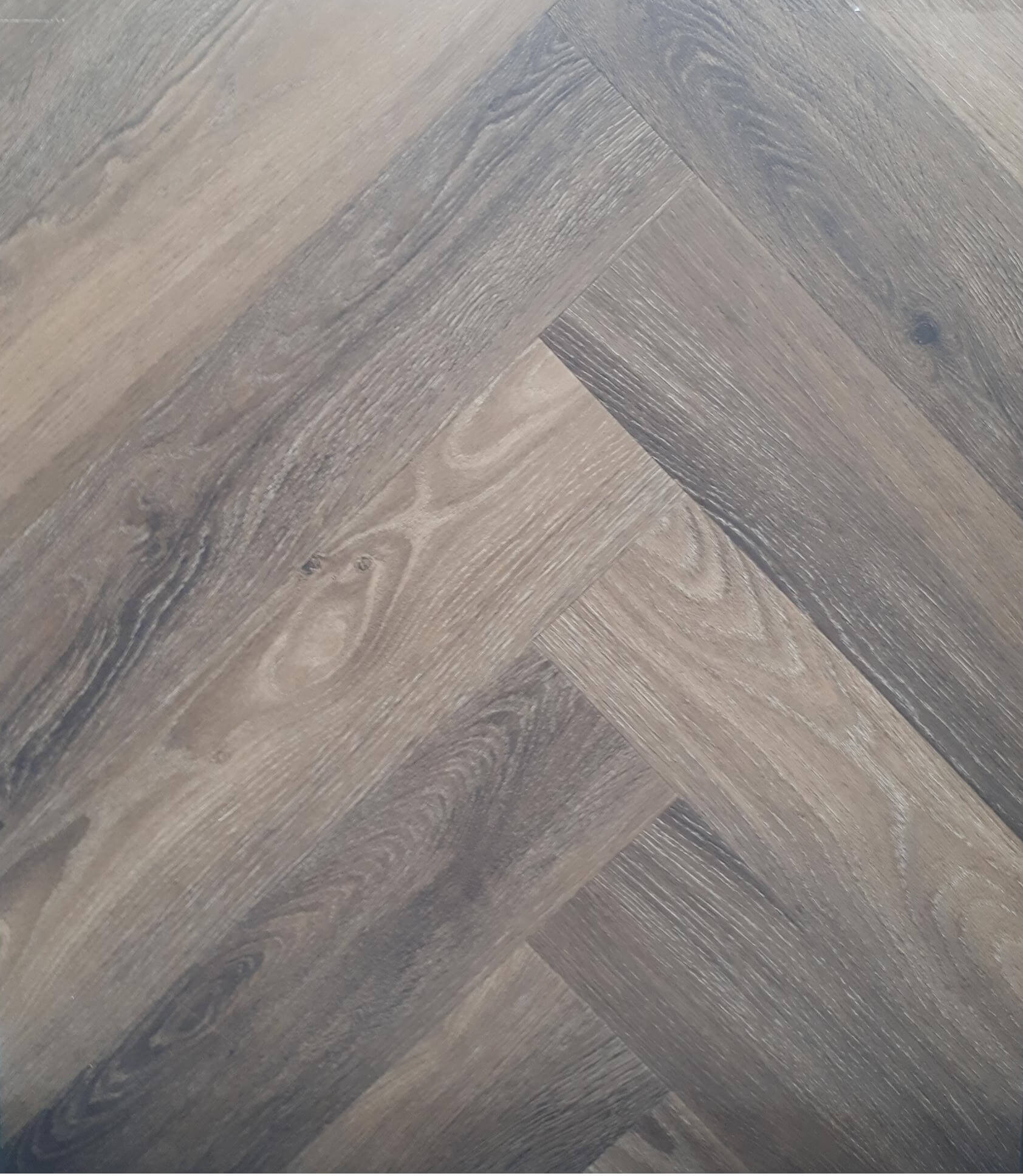 PVC Glue Herringbone Warm Brown